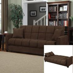 Sofa Bed Sleeper Modern Living Room Couch Futon Brown Microfiber Convertible Ful #SofaBedSleeper