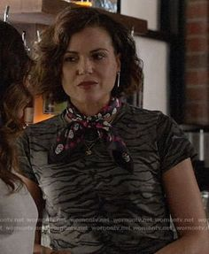Roni's tiger stripe print t-shirt and black and pink skull print scarf on Once Upon a Time.  Outfit Details: https://wornontv.net/84562/ #OUAT