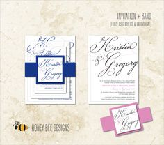 CLASSY ELEGANCE Wedding Invitation Set - Elegant Stylized Script Names Invite, Band, RSVP and Thank You - Printable Digital Files