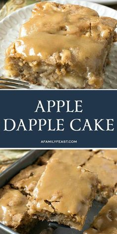 Apple Dapple Cake is an easy, vintage cake recipe loaded with apples and nuts, and a sweet buttery glaze on top. recipes Apple Dapple Cake - A Family Feast® Easy Apple Cake, Apple Cake Recipes, Recipe For Apple Dapple Cake, Apple Sheet Cake Recipe, Apple Bake, Köstliche Desserts, Delicious Desserts, Dessert Recipes, Apple Desserts