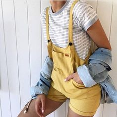 New Sweet Pot Women's Dungarees short - Mustard Size 6 Womens Dungarees, Dungarees Shorts, Cool Outfits, Summer Outfits, Casual Outfits, Rompers Women, Jumpsuits For Women, 80s Fashion, Fashion Outfits