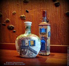 Мой прованский городок. Бутылки-светильники - Ярмарка Мастеров - ручная работа…