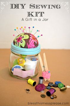 Sewing Kit in a Jar, I made these for all of my Girl Scout Juniors. I can't wait to give them to the Girls