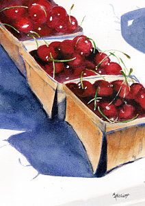 Red Cherry Painting - There's A Pie Awaiting by Marsha Elliott