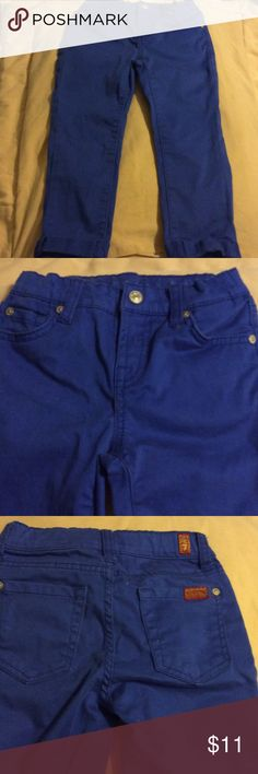 7 for mankind jeans blue Capri size 6x These Capri were worn for about three hours. Excellent condition little girls 97% cotton 3 % spandex 7 for all Mankind Jeans Ankle & Cropped