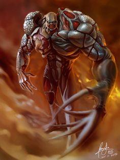 virus monster tyrant of resident evil redux by wizyakuza on DeviantArt Resident Evil Tyrant, Resident Evil Game, Resident Evil Monsters, Monster Concept Art, Monster Art, Monster Design, Creature Concept Art, Creature Design, Zombies