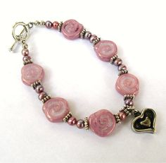 Purple Pink Bracelet Swirl Freshwater Pearl by CinLynnBoutique, $26.00