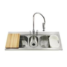KOHLER PRO TaskCenter Self-Rimming Stainless Steel 60x25.75x10.25 3-Hole Triple Bowl Kitchen Sink-DISCONTINUED-K-3328-3-NA - The Home Depot