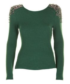 Take a look at this Forest Green & Gold Bead Long-Sleeve Top by Darling on #zulily today! $45 !!