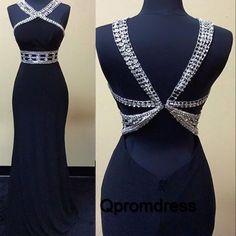 Chiffon prom dress, unique prom dress, elegant sequins navy blue chiffon long evening dress for prom 2017