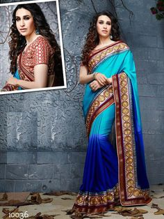 Shaded Blue Saree in Satin Georgette