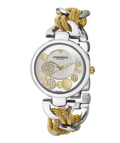 Gold & Silver Diamond & Stainless Steel Chain Link Watch | Daily deals for moms, babies and kids
