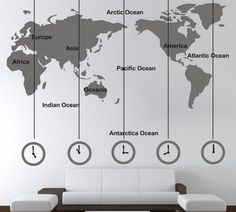 NEW LARGE WALL STICKER DECAL WORLD MAP & TIME ZONE BACKGROUND HOME&OFFICE DECOR #Creative