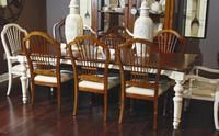 Broyhill had strong dealer response to its Cresswell dining set, made with pin knotty cherry veneers in a cherry finish. A table and four chairs are targeted to retail at $1,599 on mixed containers. Featured in the May 6, 2013, Issue of Furniture Today.