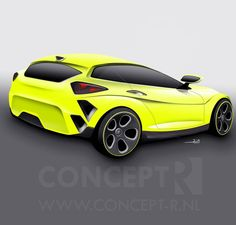 Created this awesom color for my #car #render.. The #fluor #yellow #like it? By @conceptr #radical #design