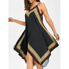 $16.39 Printed Oversized Slip Handkerchief Dress - Black