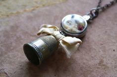 Mixed Media Vintage Thimble Watch Case Charm by HomespunIreland