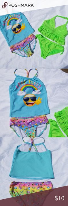 3fbb13b6e7ff6 6x bathing suit lot One emoji brand good vibes tankini and one lime green  op sparklee