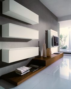 Living Room:Modern Living Room Interior Design In Spacious Situation With Floating White Drawer On Black Breadboard Over Beside Television Wall Unit Interesting Minimalist Living Room Storage Ideas with Impeccable Shelves Beautiful Living Rooms, Small Living Rooms, Living Room Modern, Home Living Room, Living Room Designs, Living Room Decor, Modern Wall Units, Muebles Living, Living Room Storage