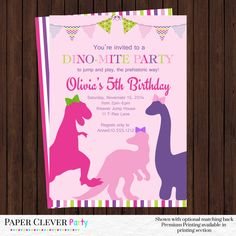 girls dinosaur birthday invitation - party invites pink, purple and lime green modern prehistoric printable file by papercleverparty on Etsy https://www.etsy.com/listing/207434513/girls-dinosaur-birthday-invitation-party