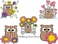 Ab in den Garten! ♥ Eule Ursula Blumen Stickdateien Set. Garden Time! Owls and flowers ♥ Doodle appliqué embroidery designs for embroidery machines. #sticken #frühling #eulenliebe #embroiderydesign