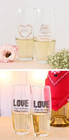 Personalized stemless champagne flutes are a gorgeous and practical accessory or favor for your wedding. Use them for a festive champagne toast, and send your guests home with the perfect favor.
