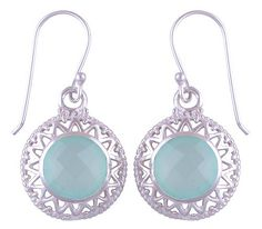 Sterling Silver Chalcedony Aqua Earrings