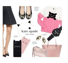 """""""Kate Spade"""" by pisces7 ❤ liked on Polyvore featuring Kate Spade, katespade, cats and glitter"""