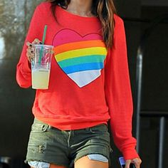 Wildfox red rainbow brite heart sweater size M *Offers welcome - please dont bundle any wildfox items without telling me so i can set the discount to 10%.*  great preowned condition! The sweater is a beautiful red and the graphic is in great condition! Super soft and cozy marked as a size medium with zero stains or rips! Wildfox Sweaters