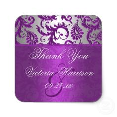 Silver And Purple Damask Ii Square Shaped Sticker