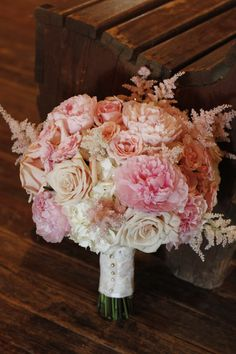 Blush Bouquet With Wedding Flowers Like Peony Astilbe And Tea Roses Dallas