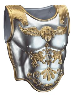 Roman style chest armour with silver and gold detailing. Sturdy lightweight plastic Halloween accessory for a Roman Warrior, Julius Caesar or Alexander the Great! Roman Armor, Arm Armor, Body Armor, Gladiator Costumes, Gladiator Armor, Costume Armour, Knight Costume, Roman Warriors, Morris Costumes