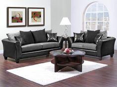 Casual Contemporary Black & Gray Sofa & Love Seat Living Room Furniture…