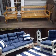 Why Teak Outdoor Garden Furniture? Porch Furniture, Diy Pallet Furniture, Diy Furniture Projects, Refurbished Furniture, Repurposed Furniture, Couch Makeover, Furniture Makeover, Wooden Couch, Up House