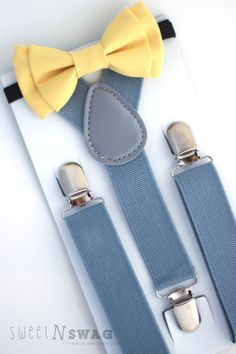Yellow Grey Weddings, Gray Weddings, Wedding Yellow, My Family Picture, Yellow Bow Tie, Toddler Moccasins, Bowtie And Suspenders, Yellow Rings, Boy Fashion
