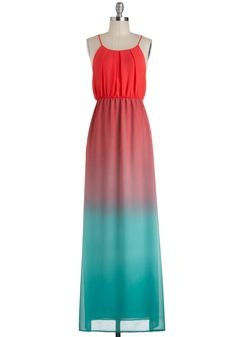 Sunset Sail Dress - Red, Solid, Pleats, Casual, Spaghetti Straps, Long, Blue, Maxi, Beach/Resort