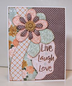 Live Laugh Love card by Gail Owens for @kiwilane using Kiwi Lane Designs templates and paper by Authentique; Technique Tuesday stamps