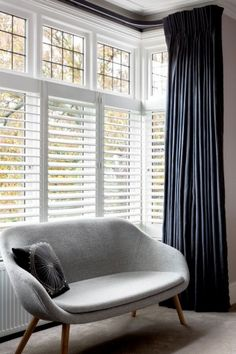 Shutters With Curtains, White Shutters, Bay Window Curtains, Interior Window Shutters, Interior Windows, Shutters For Bay Windows, Bedroom Window Coverings, Bedroom Shutters, Indoor Shutters