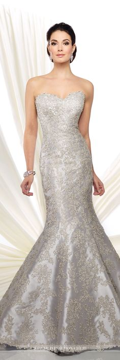 Formal Evening Gowns by Mon Cheri - Fall 2016 - Style No. 216D43 - strapless silver evening gown with hand-beaded lace appliques