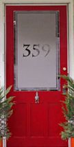 Frosted front foor with Number! Its a SIGN! Front Door Numbers, Front Doors, Window Panels, Panel Doors, House Front, Front Porch, Hattie Mae, Porch Windows, Window Accessories