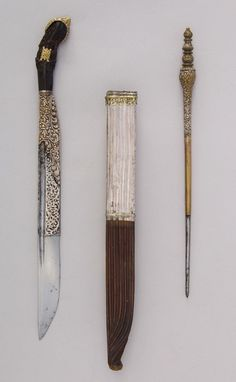 Piha Kaetta Dagger with Skewer and Sheath. Dated: 17th century. Culture: Sri Lankan.
