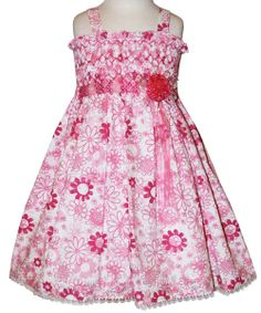 9247d4775f7 Floral Girls Smocked Pink Summer Dress there s a by CarouselWear