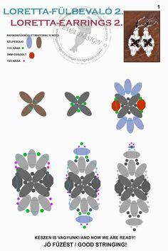 Ewa gyöngyös világa!: Loretta fülbevaló minta / Loretta earrings pattern