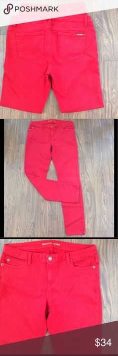 "Michael kors denim JEANS RED stretch pockets size6 Michael kors denim jeans. Size 6. Inseam is about 32"".Red color. Stretch. Detailed stitching on back pockets. Zipper fly. Logo tab on back pocket. Good preowned condition. Please look at all pictures before you purchase. Have any questions just ask. Thanks! Michael Kors Jeans"