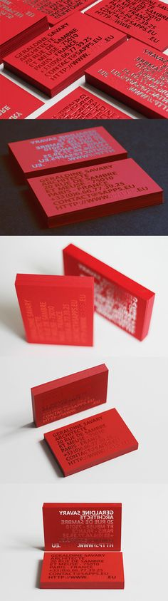 Bold Red And Silver Foiled Mirror Image Business Card Design