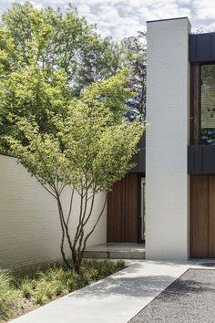 Villa BL in Brasschaat Belgium by Juma Architects Modern Landscape Design, Modern Landscaping, Front Yard Landscaping, Garden Entrance, Modern Exterior, Raised Garden Beds, Garden Inspiration, Garden Ideas, Outdoor Gardens