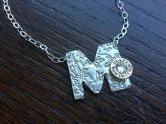 Handmade Personalized Initial Necklace with 9mm case head and stone