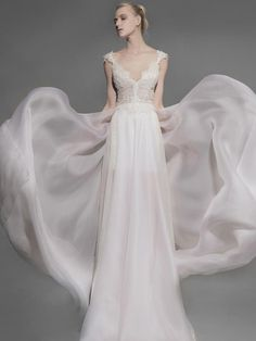 Victoria KyriaKides wedding dress with french Chantilly lace bodice and silk organza train from Spring 2016