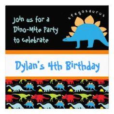 Stegosaurus Dinosaur Birthday Party Invitations  #kids #birthday #zazzle #birthdayinvitations