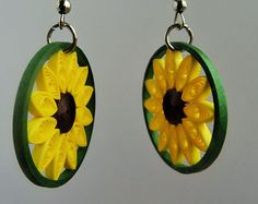 Bespoke silver/ stainless steel quilling earrings,  Sunflower, yellow and brown, quilling paper, quilling art and craft